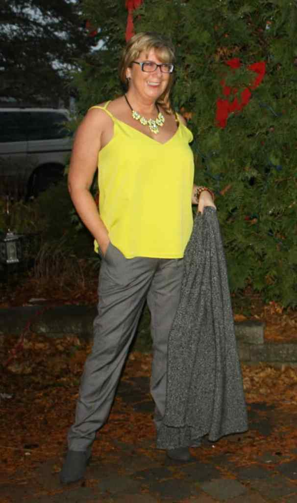 Joe Fresh Pants and a yellow cami with Yosa Necklace