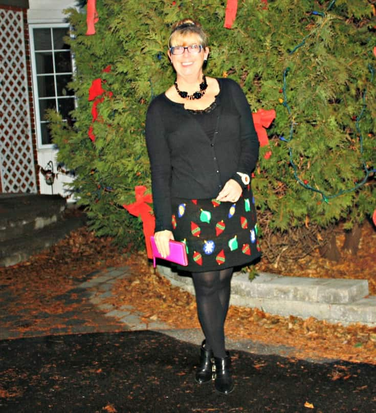 Target Christmas Skirt with Cardigan and Booties, Kate Spade Wallet and watch 5