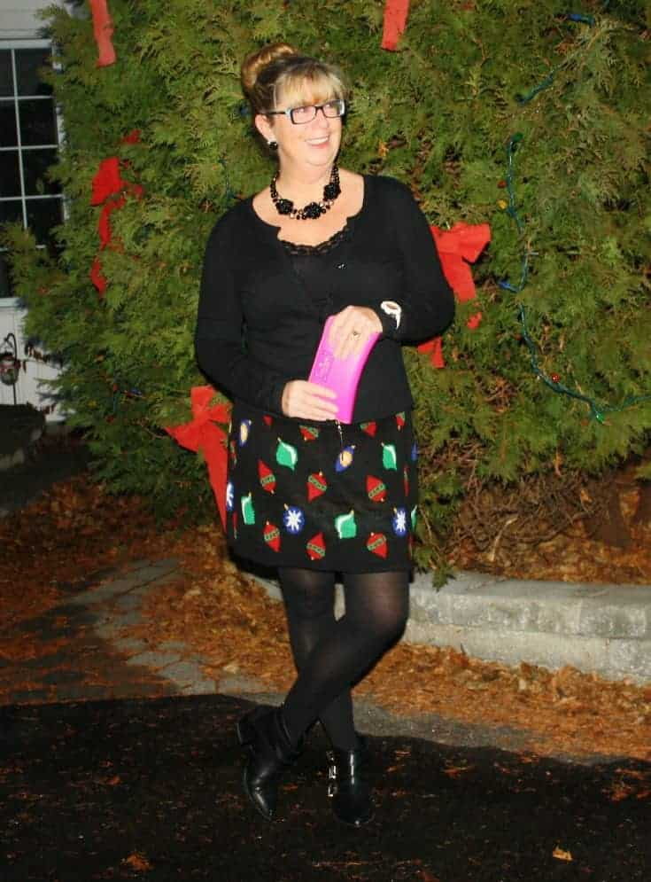 Target Christmas Skirt with Cardigan and Booties, Kate Spade Wallet and watch 6