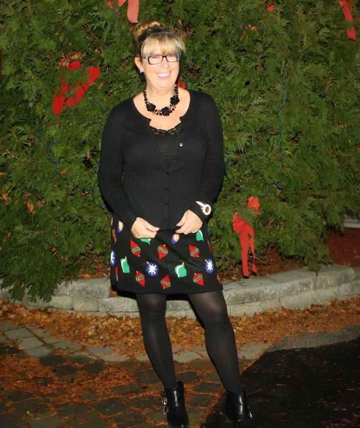 Target Christmas Skirt with Cardigan and Booties, Kate Spade watch