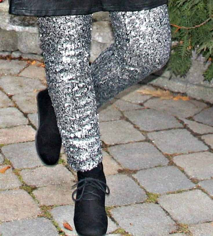 sequin leggings and wedge boots