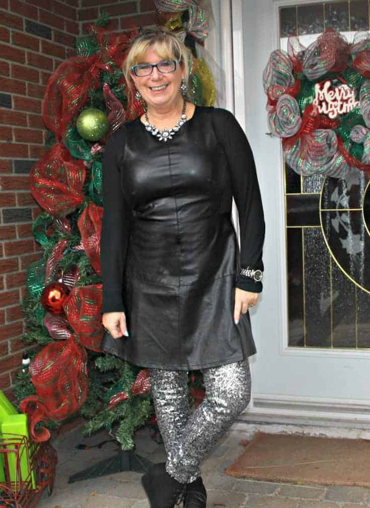 F 21 Leather Dress with H&M Sequin Leggings and a wedge Boot, necklace by Avon 4