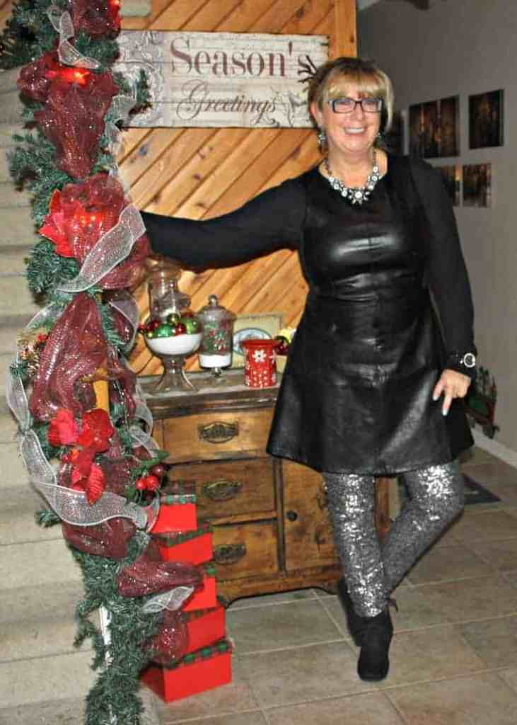 F 21 Leather Dress with H&M Sequin Leggings and a wedge Boot, necklace by Avon 10