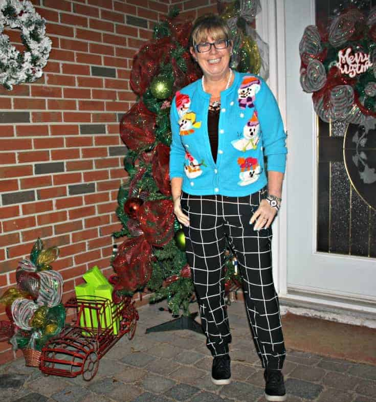 snowman sweater and windowpane joggers from Target, Konifer watch and quilted loafers