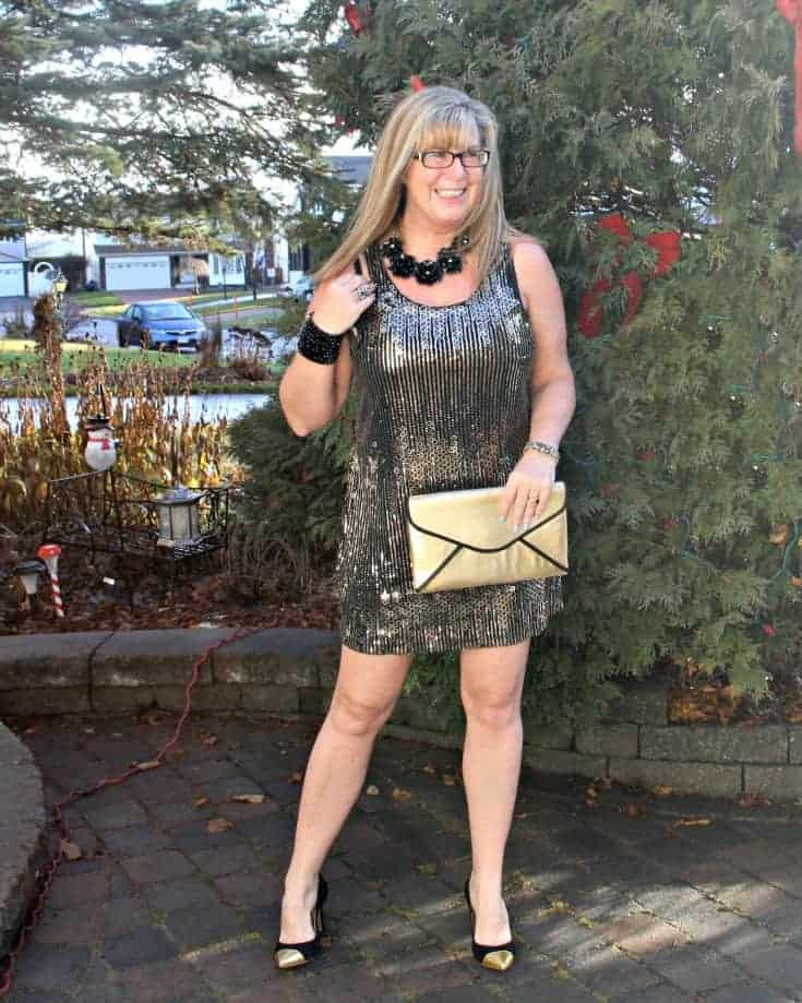 Gold sequin dress , envelope clutch and gold toe capped pumps from J Crew 1