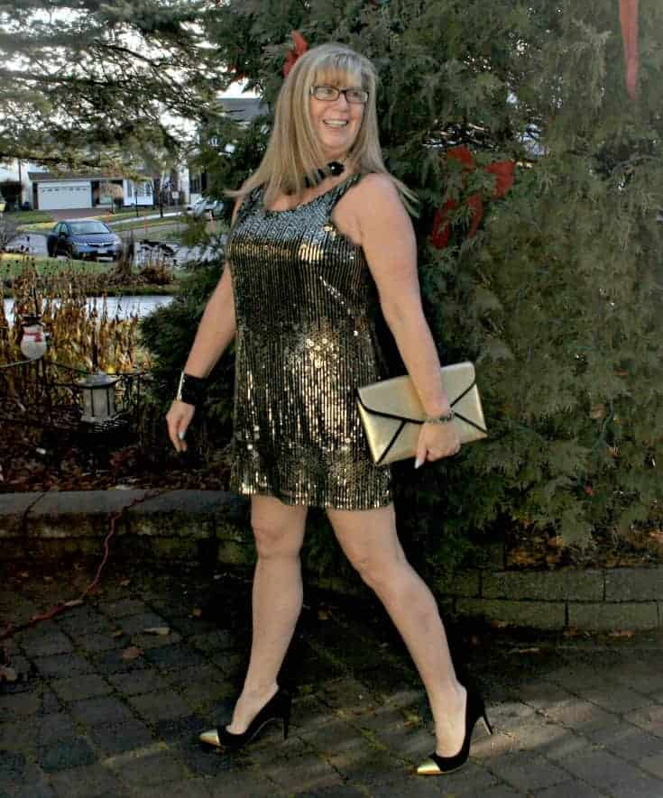 Gold sequin dress , envelope clutch and gold toe capped pumps from J Crew 2