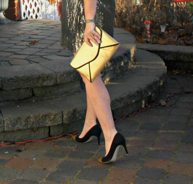 Gold sequin dress , envelope clutch and gold toe capped pumps from J Crew 6