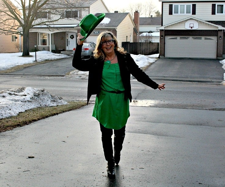 Old Navy Kelly green shirt dress and banana republic wool moto jacket and leather leggings in the driveway