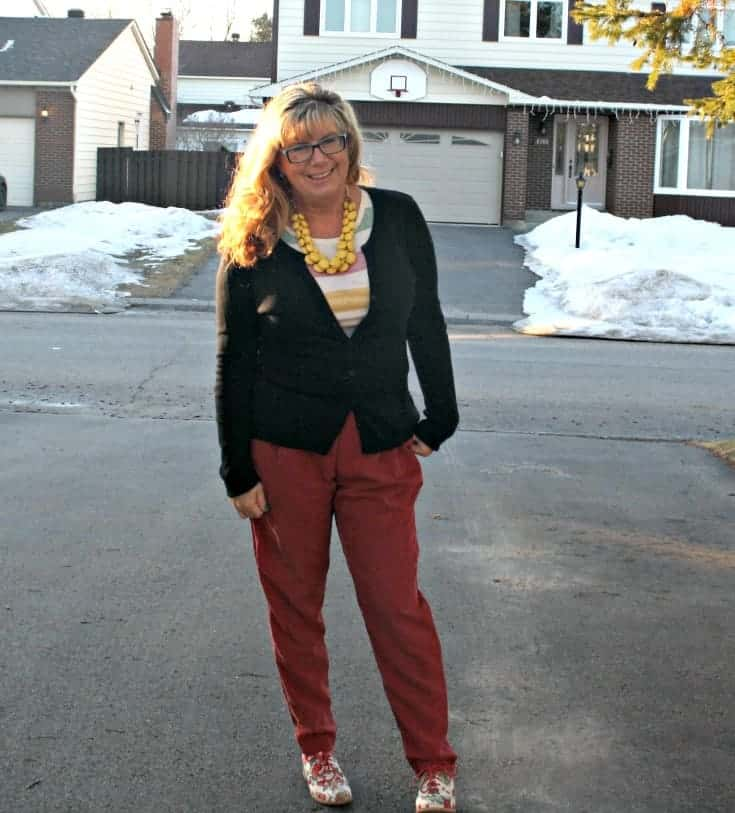 Red silk pants and a hudson bay tee with floral oxfords