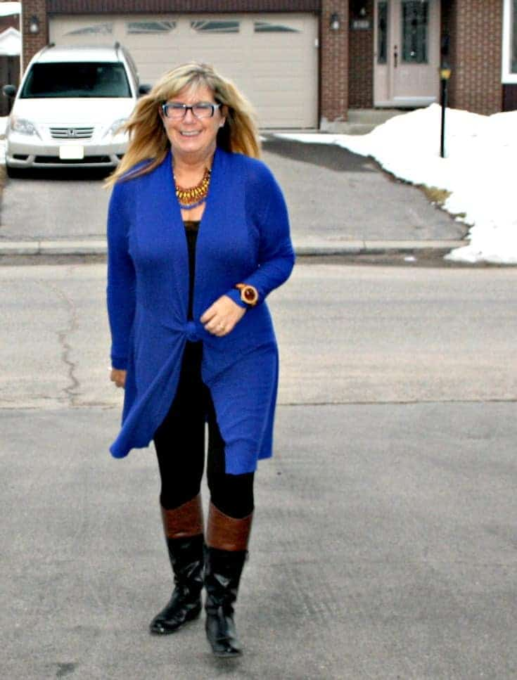 walking in Royal Blue Cardi and tights from Giant Tiger and Target boots