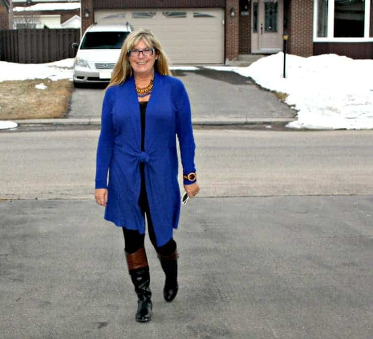 strolling in Royal Blue Cardi and tights from Giant Tiger and Target boots
