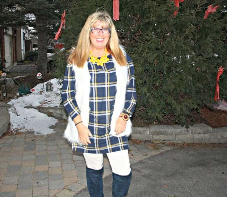 old navy plaid dress and white denims and white fur vest and blue suede boots