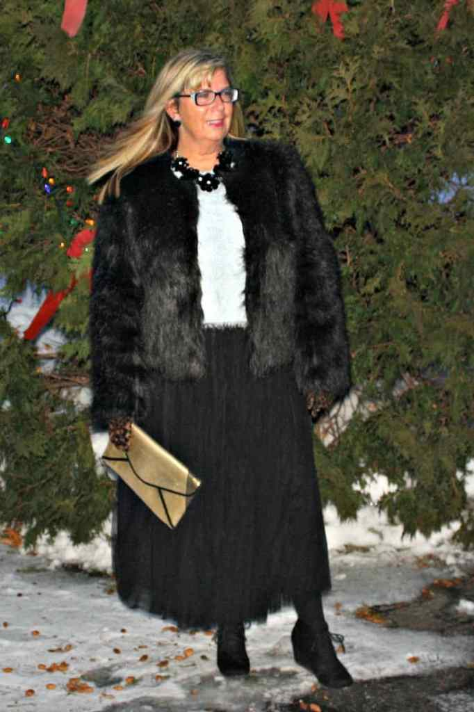 Target Fur coat and Shein Tulle skirt with fuzzy blue sweater