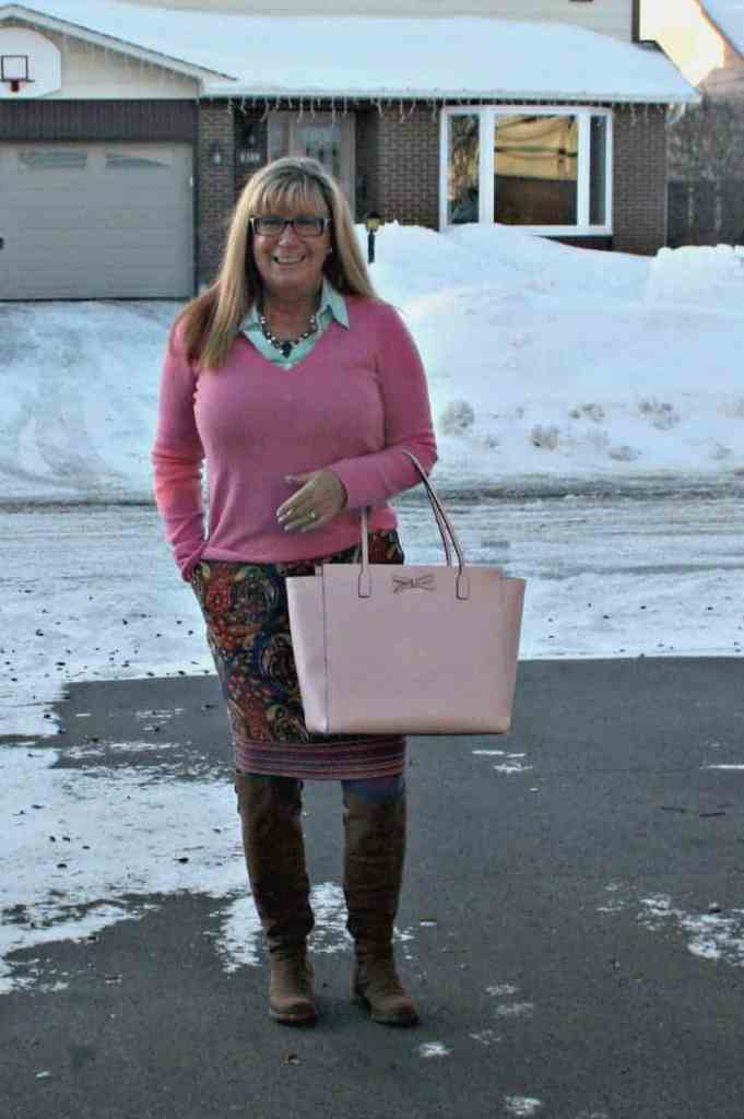 Target Pink Paisley skirt with a pink cashmere sweater and kate spade bag and OTK boots