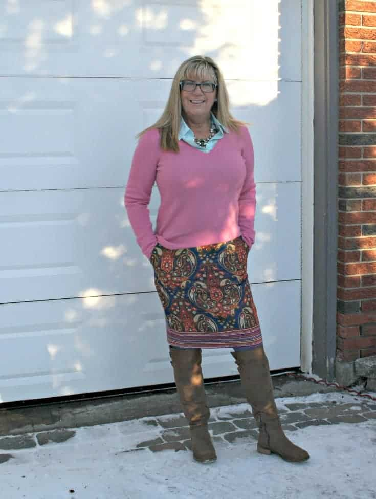 Target Target Paisley skirt with a pink cashmere sweater and kate spade bag