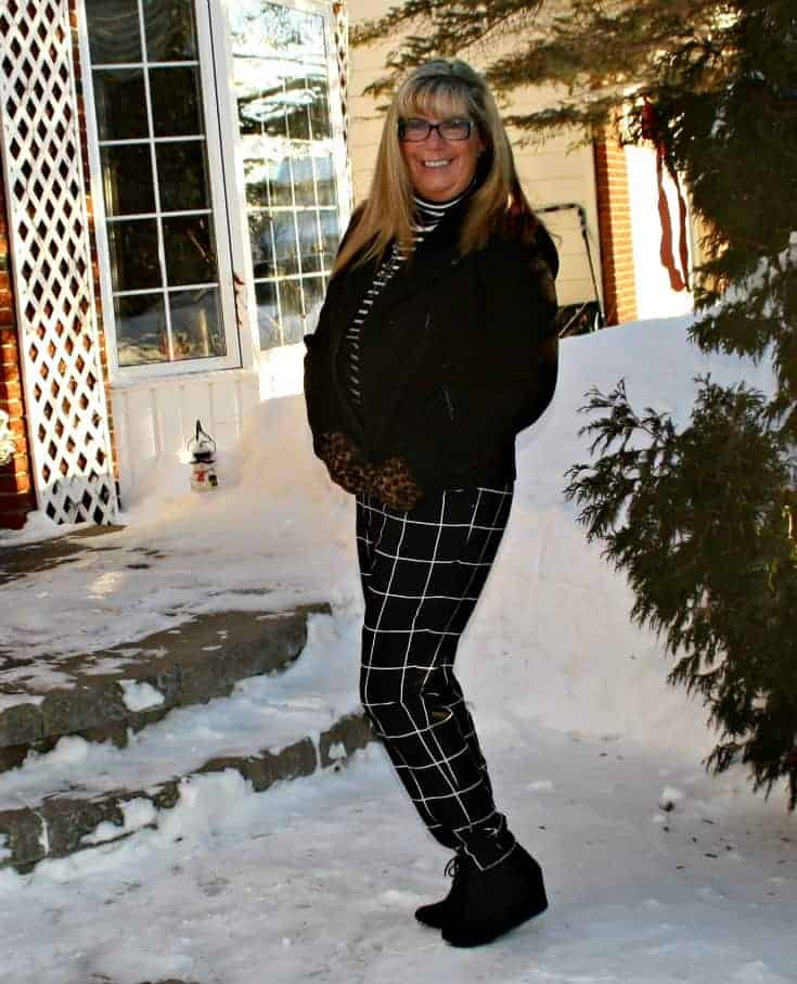 Target Windowpane joggers and aStripped top all topped with a Banana Republic Moto