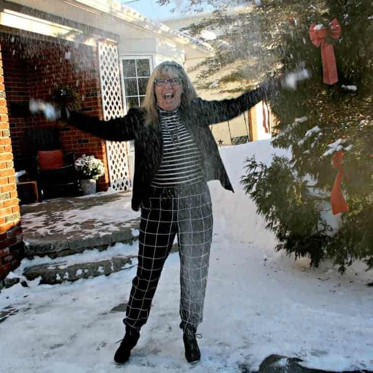 Snow day in Target Windowpane joggers and an Old Navy Stripped top all topped with a Banana Republic Moto