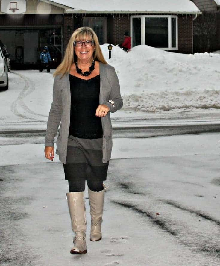 grey striped skirt, boyfriend cardigan from Old Navy and the Jessie Boot from Shoe Dazzle 1