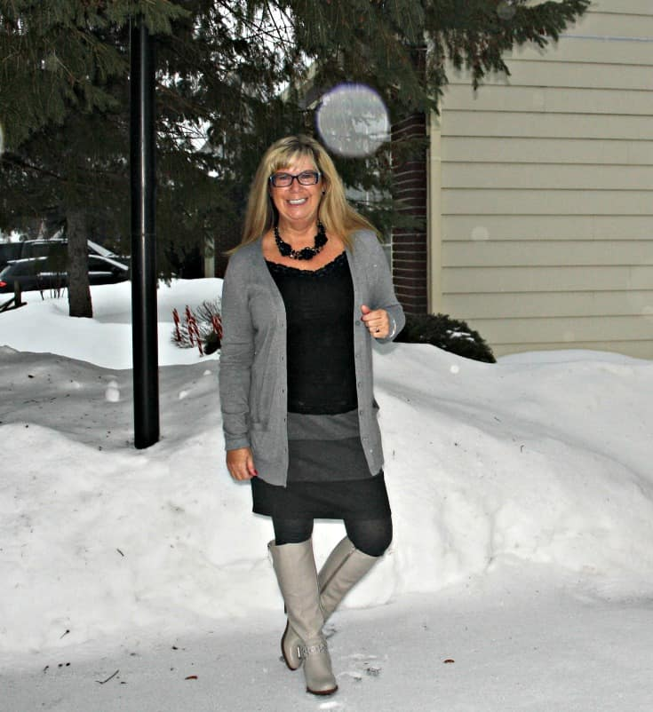 grey striped skirt, boyfriend cardigan from Old Navy and the Jessie Boot from Shoe Dazzle with a floral necklace