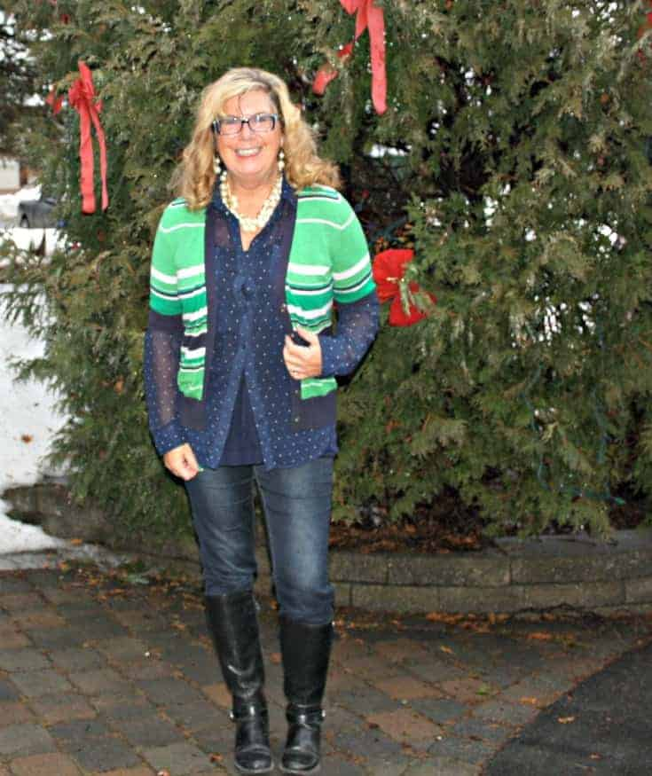 Banana Republic green striped sweater and my Haggar Dream Jeans and GH Bass boots