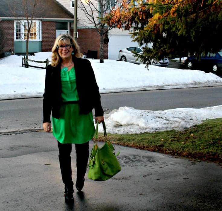 strolling in Old Navy Kelly green shirt dress and banana republic wool moto jacket