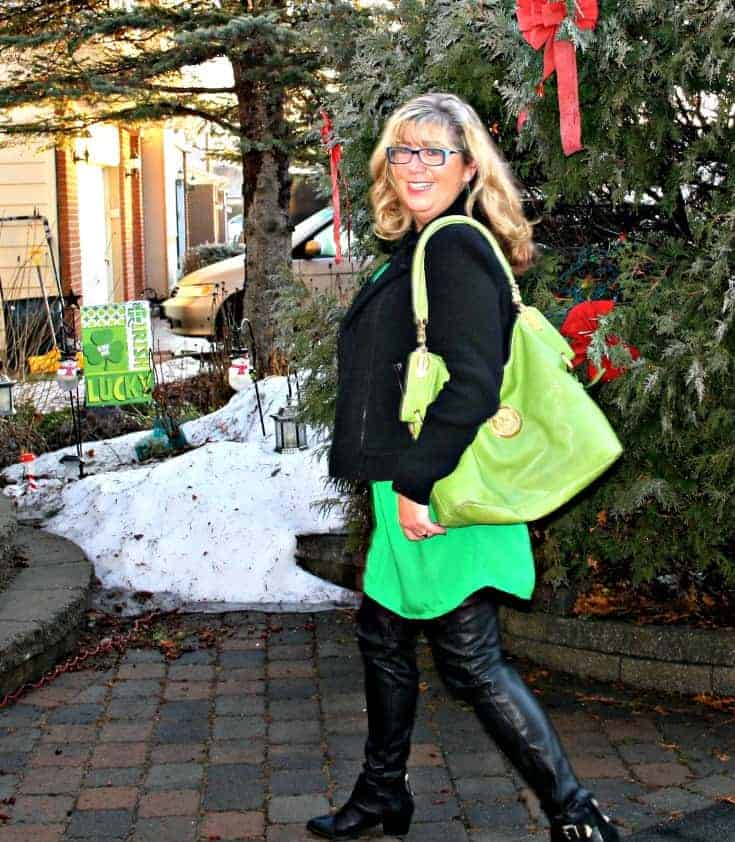 Old Navy Kelly green shirt dress and banana republic wool moto jacket and mk purse in green