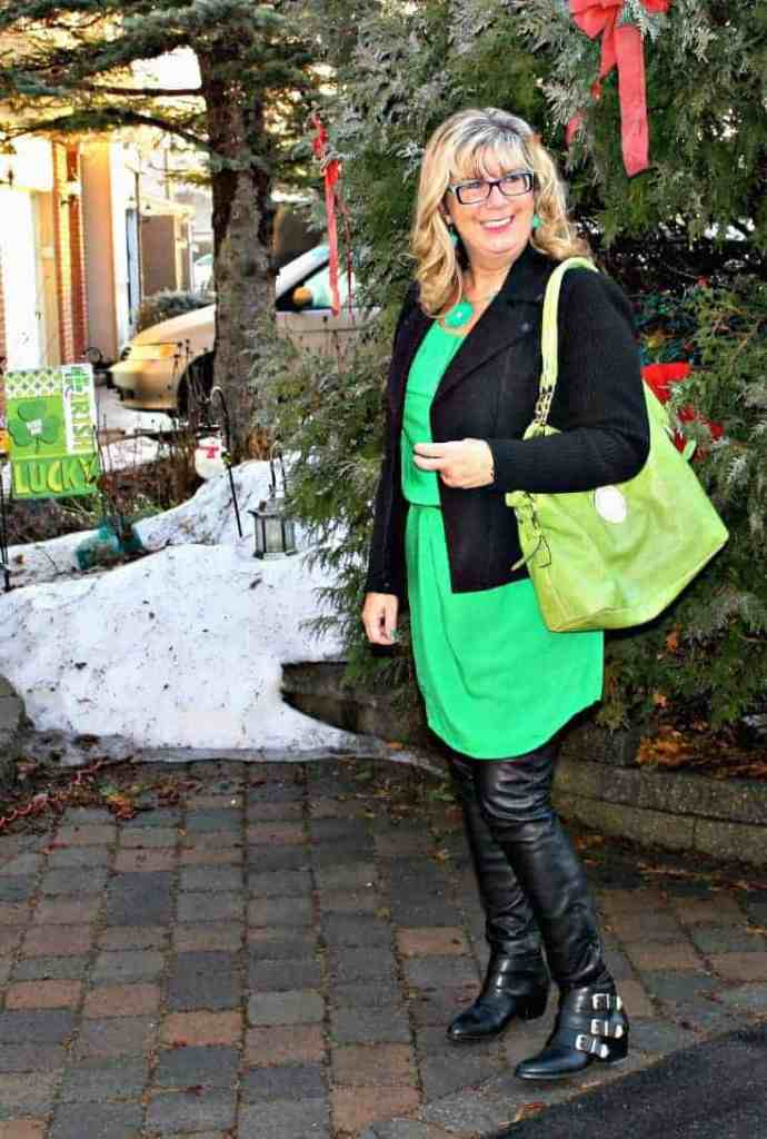 Old Navy Kelly green shirt dress and banana republic wool moto jacket and MK purse