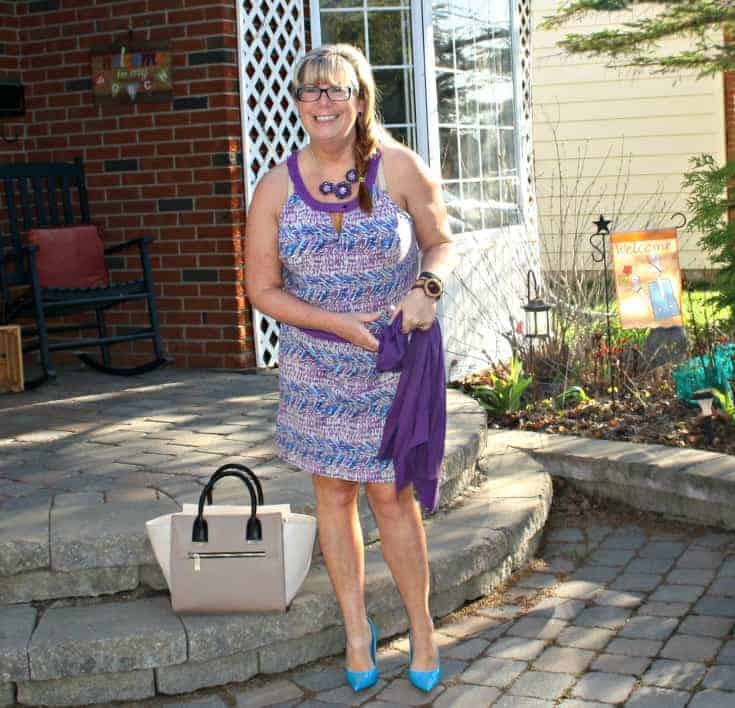 Banana Republic Dress and Cardi in Blue and purple, with aqua pumps and toms topped with a jord