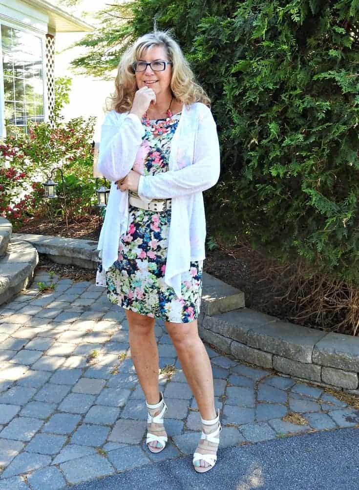 floral dress from Target and shoe dazzle heels