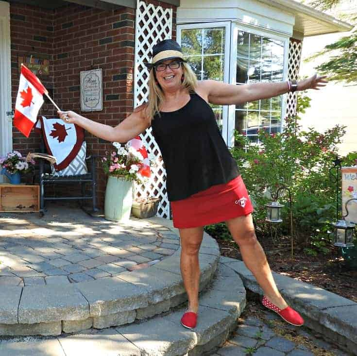 Giant Tiger skirt and shoes for Canada Day and a Timber Watch