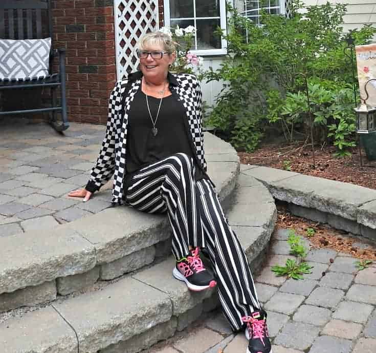 Forever 21 striped pants and checked blouse with neon nikes