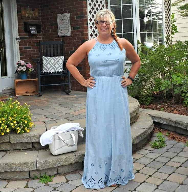 Baby Blue Old Navy Maxi and a Vanheusen Lace Cardi