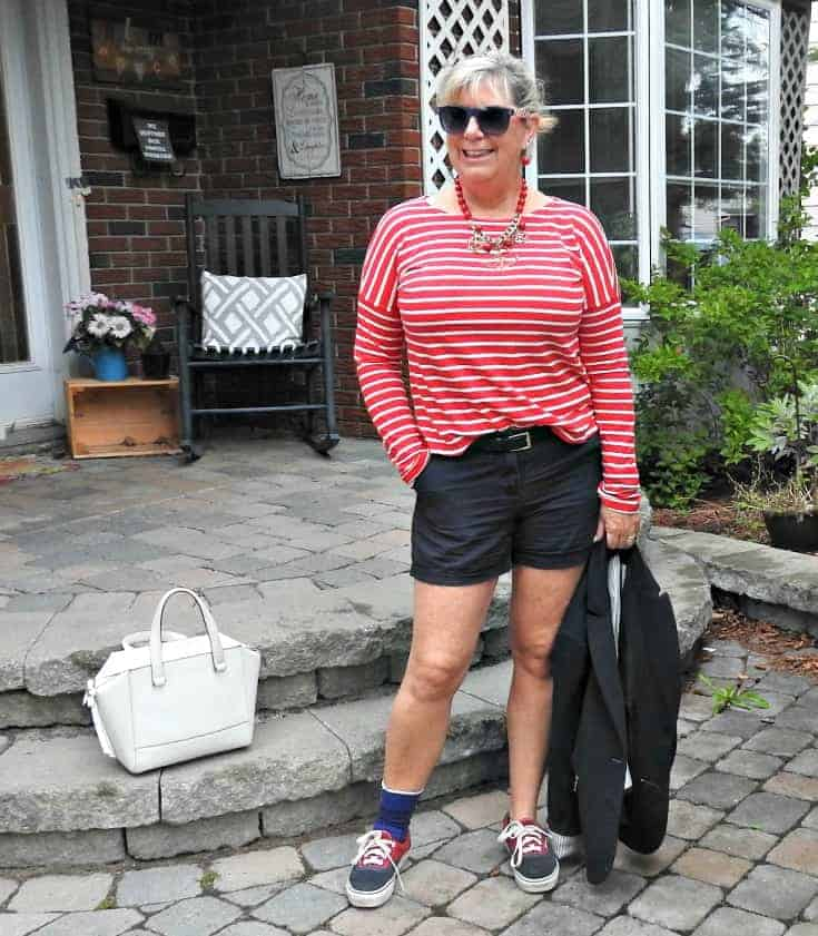 Old Navy red striped shirt with J Crew shorts and a blazer. Add a few nautical accessories for a fun end of summer look.