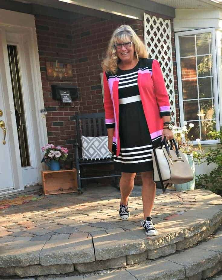 J Crew Dress, a Ming Wang blazer and converse for the perfect go to work look