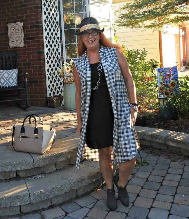 Forever 21 plaid duster and booties with a black fedora