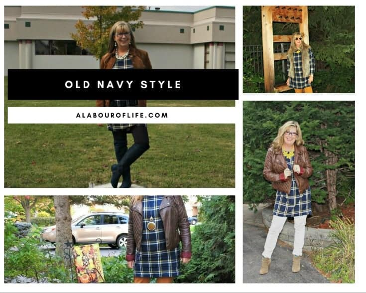 Old navy plaid tunic and moto jacket