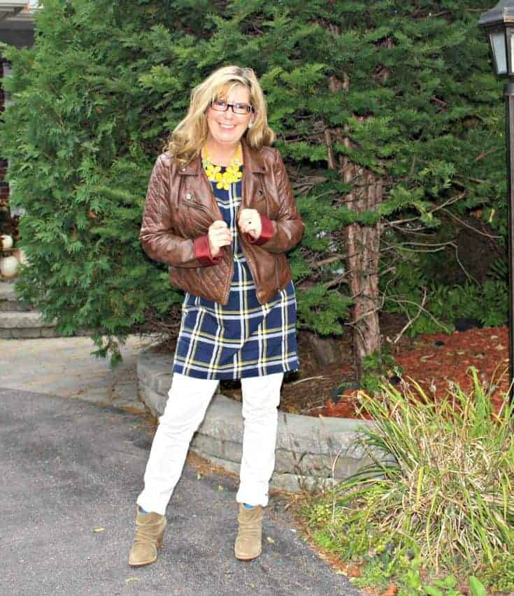 Old Navy Plaid Tunic with white denim