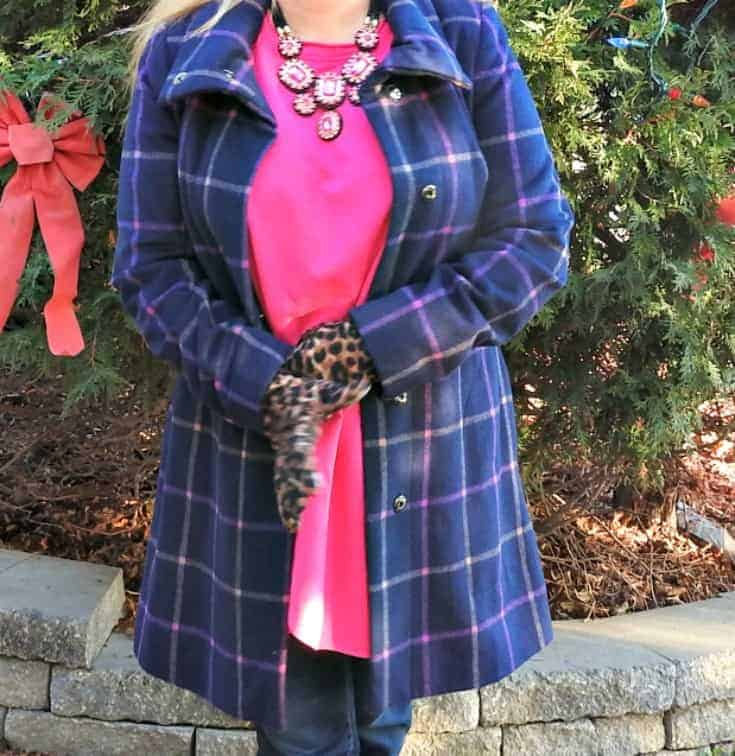 Flaunt it Necklace from 7 Charming Sisters and my New Chic Tunic with Haggar Dream Jeans and metallic brogues and a Plaid Target coat