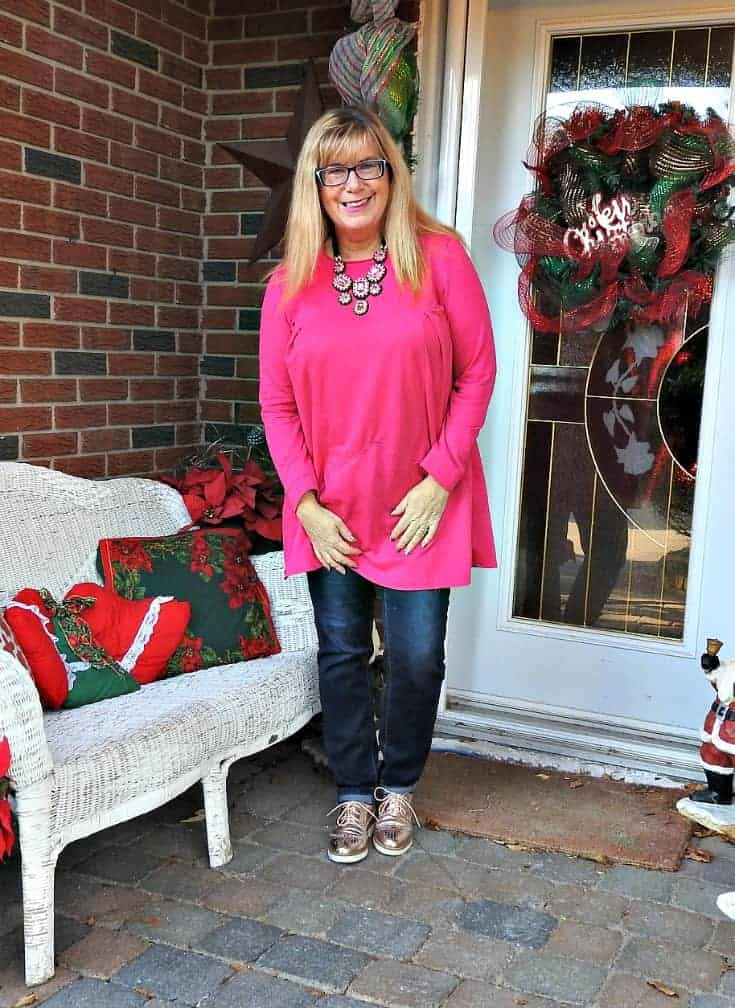 Flaunt it Necklace from 7 Charming Sisters and my New Chic Tunic with Haggar Dream Jeans and metallic brogues