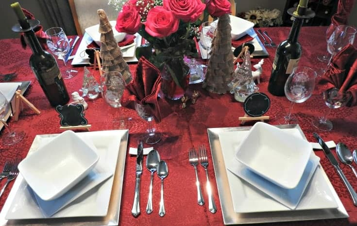 pink rose tablesetting for a romantic dinner