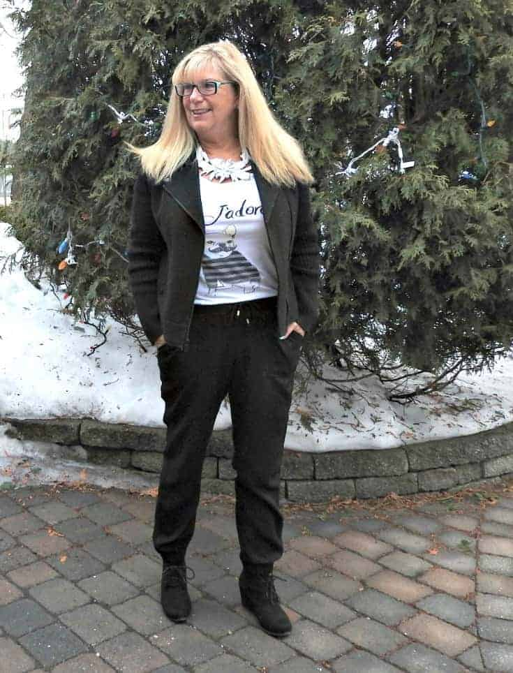 J'Adore Tee with joggers and a moto jacket. Paired with a 7 Charming sisters necklace