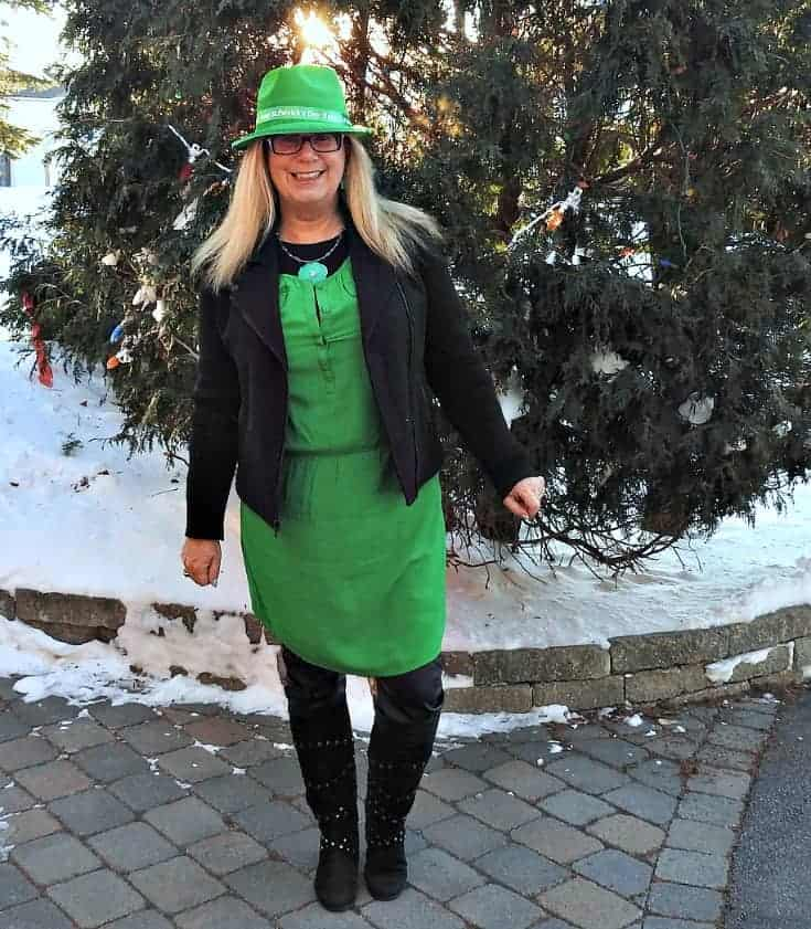 Old Navy green dress for st patricks day with a moto jacket and GT boots