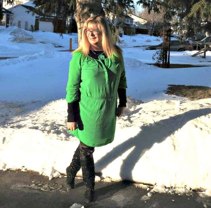 Old Navy green dress for st patricks day with leather leggings