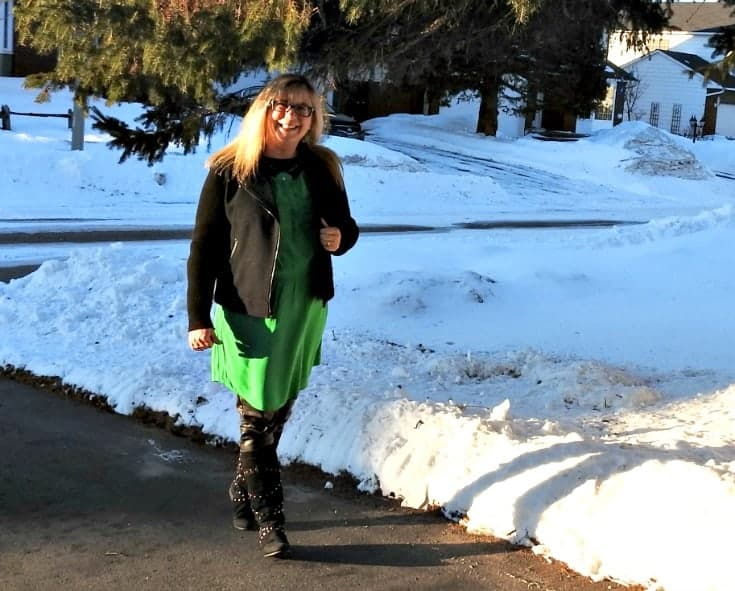 Giant tiger moto boots with an Old Navy green dress for st patricks day with a moto jacket