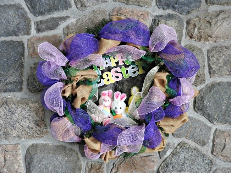 hoppy Easter Decomesh wreath for the mantle