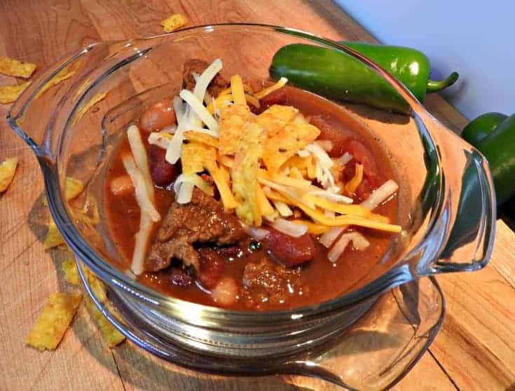 Texas style beef chili topped with cheddar