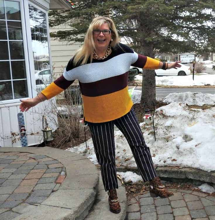 in my happy place in Old Navy Harper Striped pants and shoe dazzle leopard booties