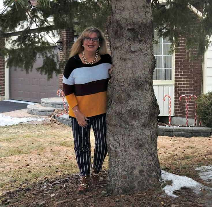 Tree hugger in Old Navy Harper Striped pants and shoe dazzle leopard booties