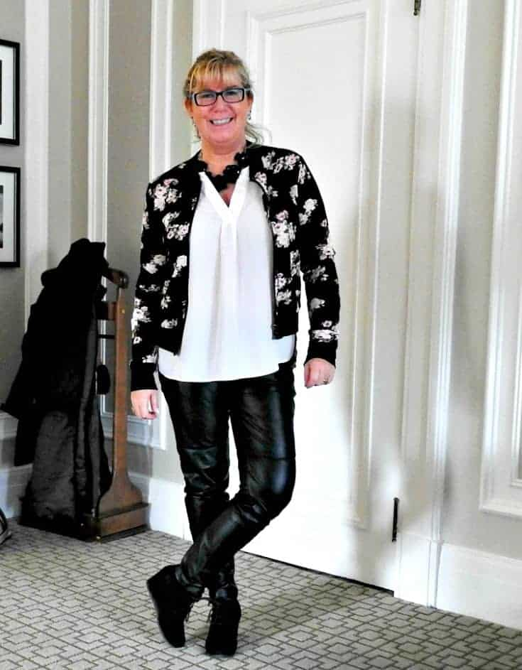 Lily Morgan Floral Bomber and blush blouse from Giant Tiger with H&M leather leggings and a wedge bootie from George