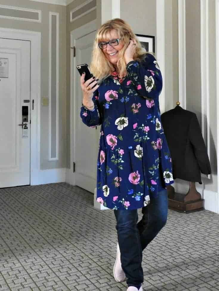 Old Navy Floral Dress and Haggar Dream Jeans with Pink suede Tom's